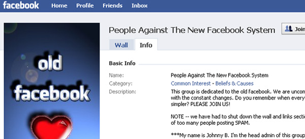 One of dozens of groups against a new facebook redesign