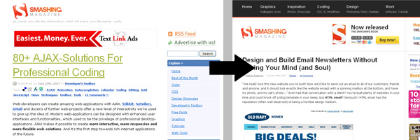 Smashing Magazine's changes improve functionality, not just asethetics.