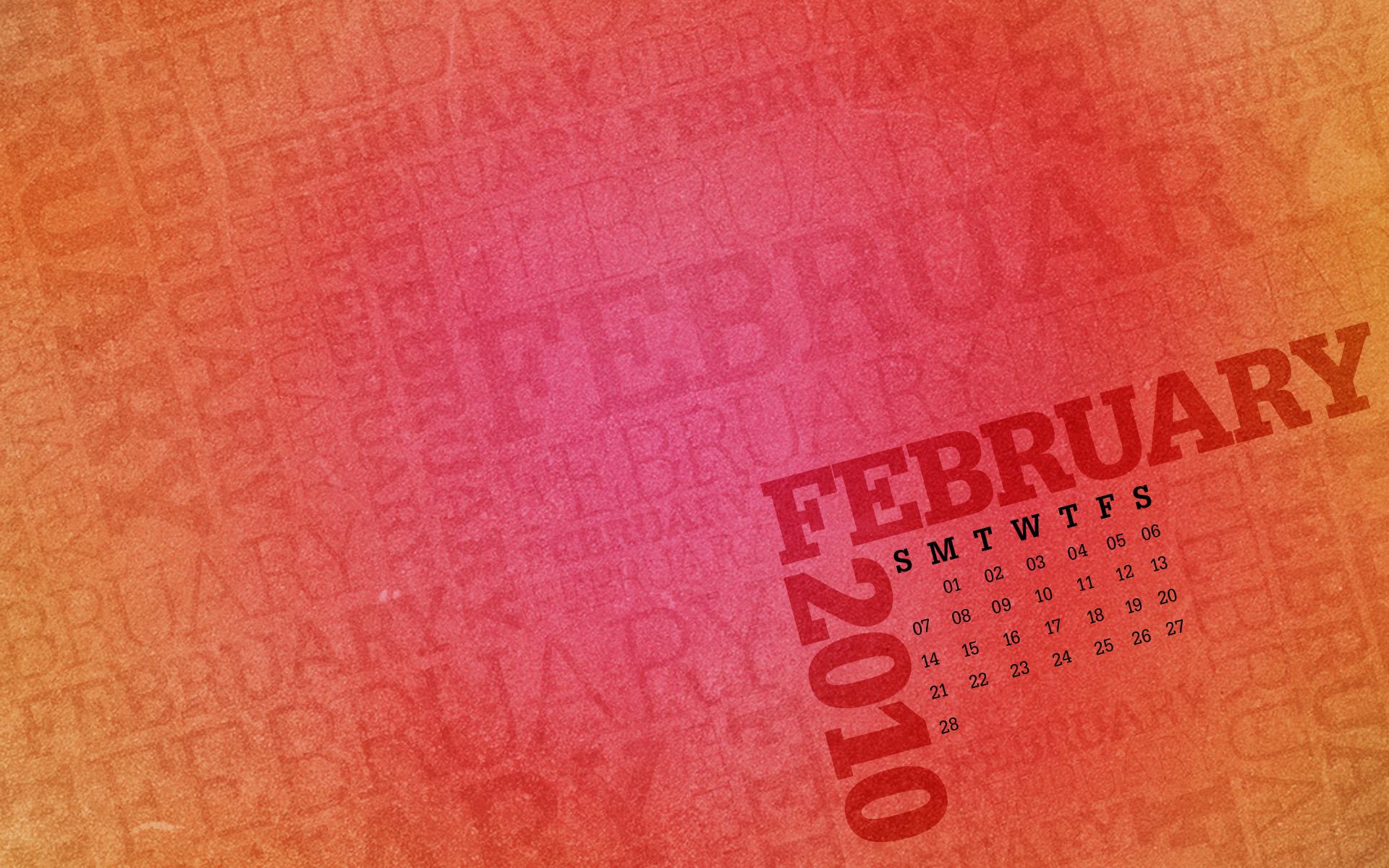Desktop Wallpaper Calendar: February 2010