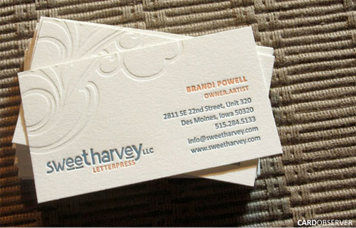 25 letterpressed and embossed business cards cleverly cut reheart Gallery