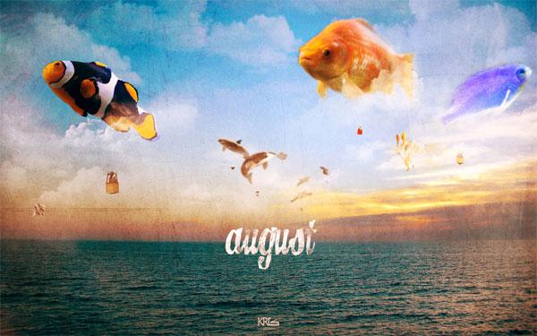august 2011 fish calendar wallpaper