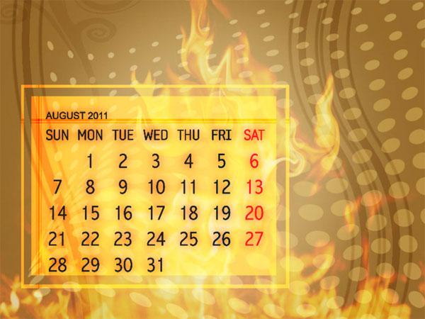 flaming august 2011 calendar