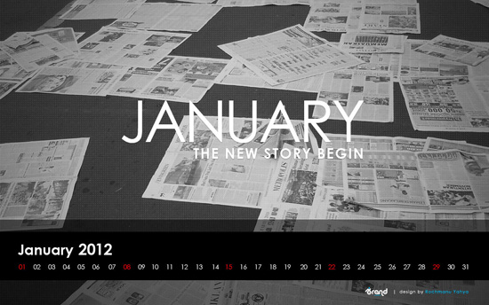 January 2012 Newspaper Calendar Wallpaper