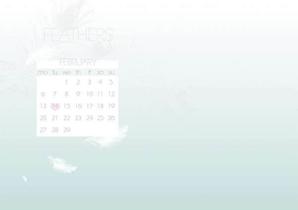February Feathers Desktop Calendar