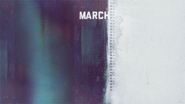 Dark Grunge Desktop Wallpaper Calendar for March 2012