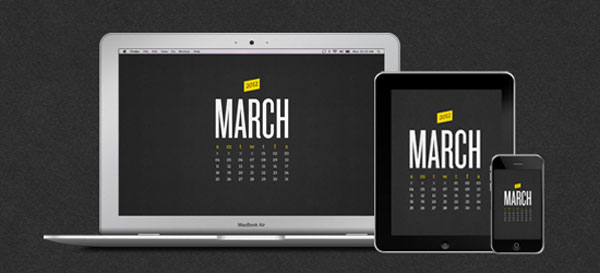 iPad March 2012 calendar wallpaper