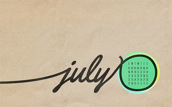 July 2012 Desktop Calendar