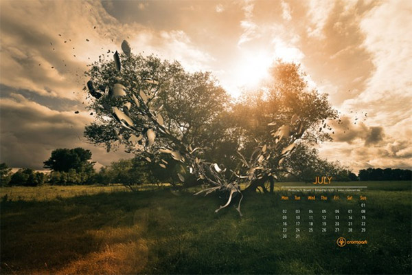 Abstract July 2012 Desktop Calendar
