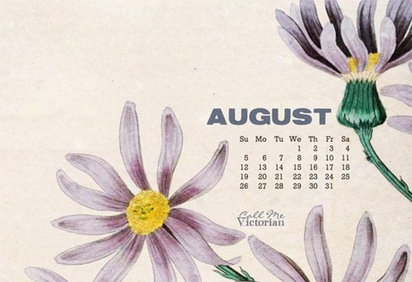 August Flower Calendar Wallpaper