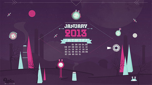 January 2013 Desktop Wallaper calendar